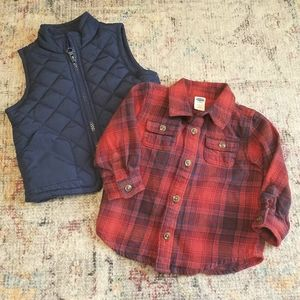 Old Navy Puffer Vest & Long Sleeve Top